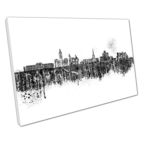 Schwarz & Weiß Spray Kunstdruck auf Leinwand Skyline Chesterfield Town in England, schwarz / weiß, 61 x 41 x Depth 2cm