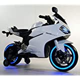 GetBest 99 Ride on Bike for Kids with 12V Battery Operated, Spring Suspension, wheels Light, Music Option and Hand Accelerator, White