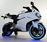 #2: GetBest 99 Ride on Bike for Kids with 12V Battery Operated, Spring Suspension, wheels Light, Music Option and Hand Accelerator, White