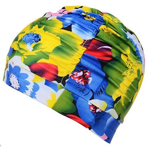 Butterme Badekappe Bademütze Schwimmkappe Duschkappe Große Atmungsaktiv Nylon Falten Badekappen Hut für Langes Haar Frauen Männer Stil 11