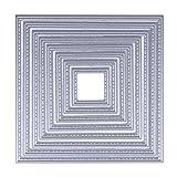 Demiawaking 8Pcs Metall Quadratischen Ausschnitt Form Schneiden Schablonen DIY Sammelalbum Dekor Papier Karten, Metall B