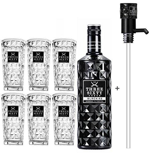 Three Sixty Black 42 Vodka 3L (42{07083a56755d940b788f2f7837ff8fbe14964d5a5d45dff61da138288996c15d} Vol) + Pumpe + 6x Longdrink Gläser -[Enthält Sulfite]