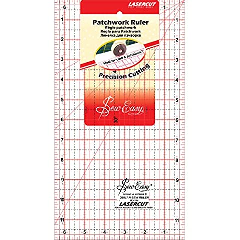 Tacony Corporation Plastic SewEasy Patchwork Quilt Ruler-12-inch x