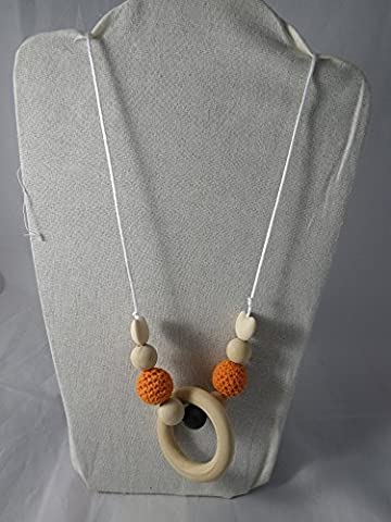 Collier de portage / allaitement orange et marron