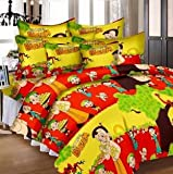 #5: Chota Bheem Printed Children Kids Cartoon Double Bed Cover Bedsheet 100% Cotton With 3 Pillow Covers 2+1 ( bolster Long Pillow Cover) Set - Multi color