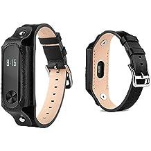 Pinhen MI BAND 2 Banda Xiaomi único y atractivo pulseras cuero reemplazo de la correa con cierres metálicos (Black)