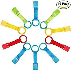 Rovtop Pack de 10 Anillas Para Cunas y Parques (azul, amarillo, verde, rojo)