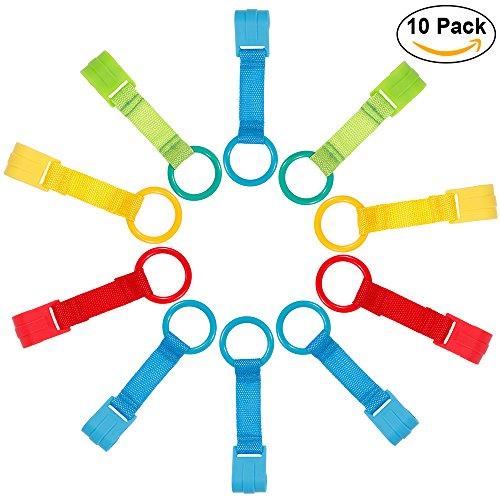 Rovtop Pack de 10 Anillas Para Cunas y Parques  Ayuda a su Bebe a Ponerse de Pie Facilmente(Azul×4, amarillo×2, verde×2, rojo×2)