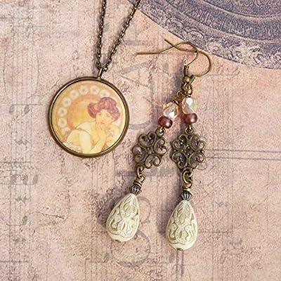 Bijoux Art Déco, Art Nouveau, Boucles d'Oreilles et Collier Femme, Bijoux Vintage, Bijoux Rétro, Ensemble Bijoux, Parure Bijoux
