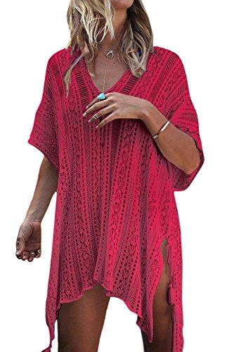 Le Donne L'estate A Bikini Insabbiamenti Costumi Beachwear Mini Vestito Red2