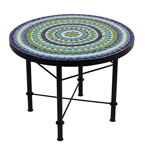 albena Marokko Galerie Marokkanischer Mosaiktisch 60cm COUCHTISCH Gartentisch Beistelltisch Terrassentisch Fliesentisch Mediterraner Tisch (Hiawa blau/türkis/weiss/grün)