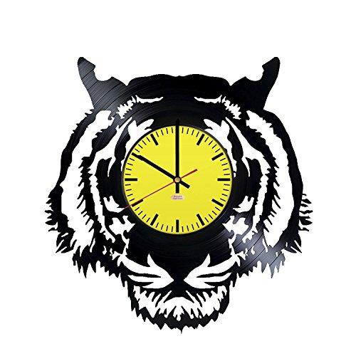 Bengal Tiger handgefertigt Vinyl Schallplatte Wanduhr-Get einzigartigen Wohnzimmer oder Schlafzimmer Wand Decor-Geschenk Ideen für Freunde, Eltern-Wild Animal Silhouette Einzigartige Modern Art (Daniel Dekorationen Tiger)