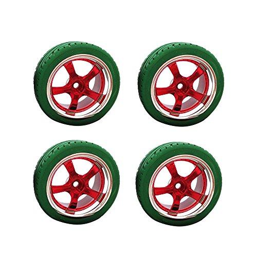 Preisvergleich Produktbild MagiDeal 4 x Reifen Rennreifen Flache Radfelge Gummireifen für Hsp Hpi 01.10 Grün