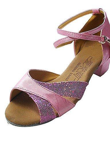 ShangYi Chaussures de danse (Argent/Rose) - Non personnalisable - Talon plat - Similicuir/Paillettes scintillantes - Danse latine/Salle de bal Pink