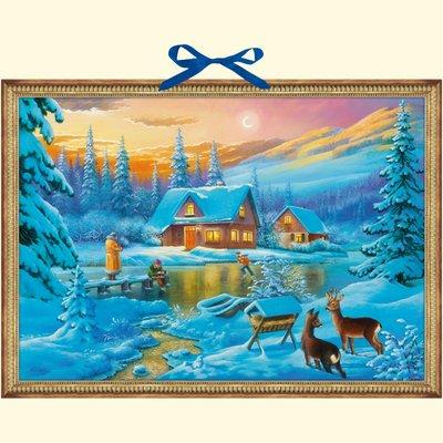 Coppenrath schneebedecktes Haus bei Lakeside Skaten und Deer Große Traditionelle Deutsche Adventskalender 58M breit x 42cm
