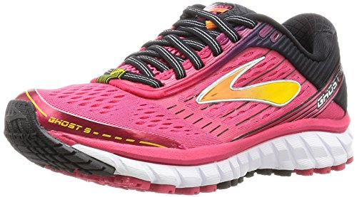 Brooks Ghost 9, Zapatos para Correr para Mujer, Rosa (Azalea/Black/Cyber Yellow), 39 EU