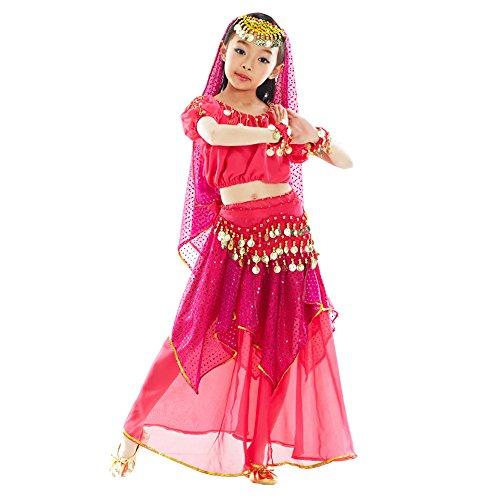 nder Mädchen Shiny Bauchtanz Kostüme Kinder Ägypten Indische Tanz Outfits (Rose Rot , EU XS = Tag S) (Kind Indische Kostüme)