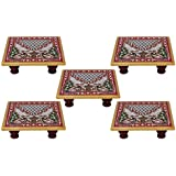 White Box Marble Puja Chowki Set Of 5 For Gift Item :- 4x4 Inch