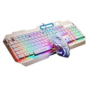 TTQ Gaming Tastatur Mechanische Touch Gefühl mit Rainbow Hintergrundbeleuchtung & Gaming Maus Max 3200DPI mit der blau Atmung Lampe & Maus Pad, Maus Tastatur Set (Rose