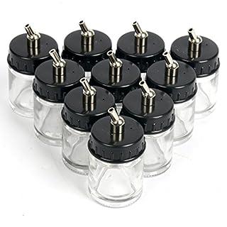 yaekoo 100transparent 22cc Airbrush-Flaschen Glas & Deckel W/Metall-Steckverbinder