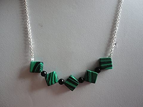 Malachite Cubes Semi Precious Gemstone Bead Necklace