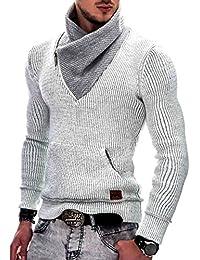 Indicode Herren Dane Grobstrick Winter-Pullover Norweger Hoodie Kapuzenpullover Schalkragen Sweatshirt