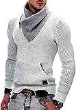 INDICODE Herren Dane Grobstrick Winter-Pullover Norweger Hoodie Kapuzenpullover Schalkragen Sweatshirt Off white XL