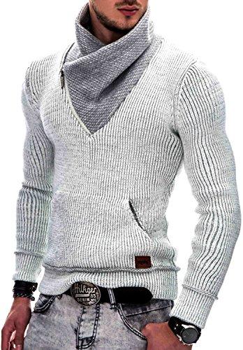 INDICODE Herren Dane Grobstrick Winter-Pullover Norweger Hoodie Kapuzenpullover Schalkragen Sweatshirt Off white S