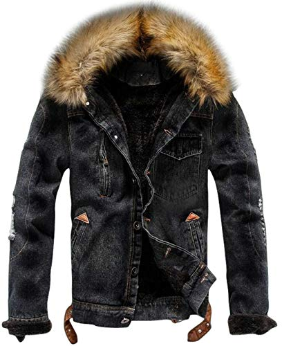 chouyatou Herren Winter stilvolle Kunstpelzkragen Sherpa gezeichneter Distressed Denim Trucker Jacket x-small schwarz Distressed Denim Jacket