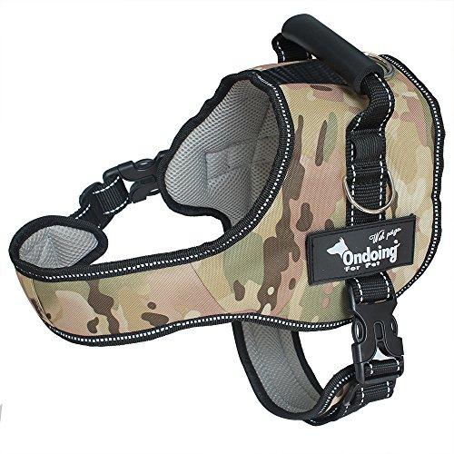 Ondoing No-Pull Hundegeschirr Einstellbar Weste Brustgeschirr Reflektierende Weich Gepolstert für Mittlerer Große Hunde Green Camo XL
