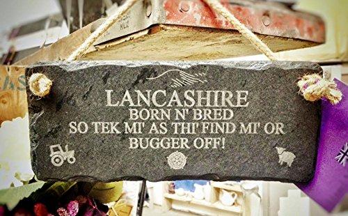 Platten Slate Lancashire Born N SO Tek gezüchtet Mi als Spielmöglichkeiten finden Mi Oder Bugger Off Zitat Wandschild zum Aufhängen mit Seil, schwarz, 25x 12cm - Gezüchtet 12