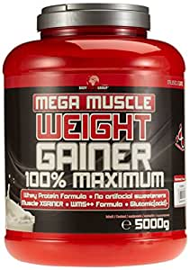 BWG Mega Muscle Weight Gainer 100% Maximum, Muscle Line, Mega Strawberry, Dose mit Dosierlöffel, 1er Pack (1 x 5000g)
