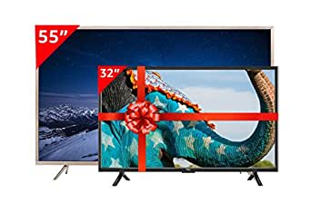 TCL 139.7 cm (55 inches) P2 L55P2US 4K UHD LED Smart TV (Golden) and TCL 81.28 cm (32 inches) L32D2900 HD Ready LED TV