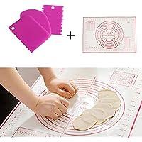 Sypure (TM) 4pcs/Lot plastica torta strumenti fondente Decor spatole pasticceria set con 60* 40antiaderente silicone tappetino da forno