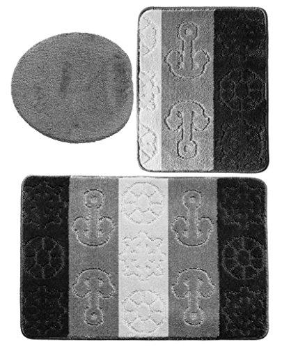 3 teiliges Badgarnitur Set Titanik Muster ohne Ausschnitt - Badteppich 85x55 Badematte (Schwarz-Grau-Hellgrau)