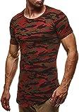 LEIF NELSON Herren T-Shirt Sweatshirt Longsleeve Hoodie Rundhals Camouflage Army LN6363; Größe XL, Camouflage Rot-Toene