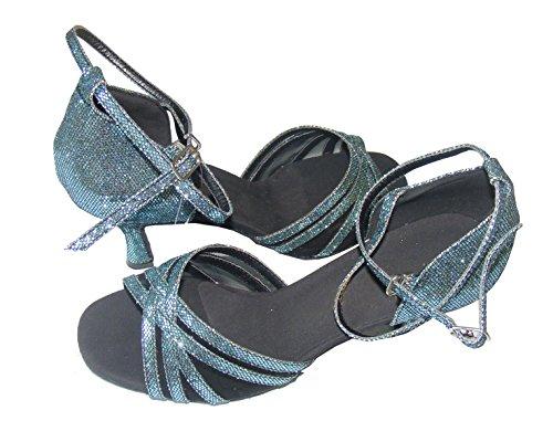 Colorfulworldstore Chaussures de danse latine pour dame, en résille avec cinq lanières, couleur bleue / rose / rouge avec motifs hexagonaux Bleu