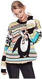 Damen Sweater Sweatshirt Pullover Merry Christmas Rentier Weihnachten Pulli Elf (OneSize, Pinguin Schwarz/Orange)