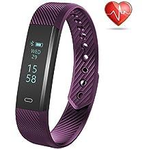 Weton attività fitness tracker bracciale con cardiofrequenzimetro Bluetooth 4.0Smart Wristband contapassi con sonno impermeabile monitor contacalorie passo Tracker per Android e iPhone, Purple