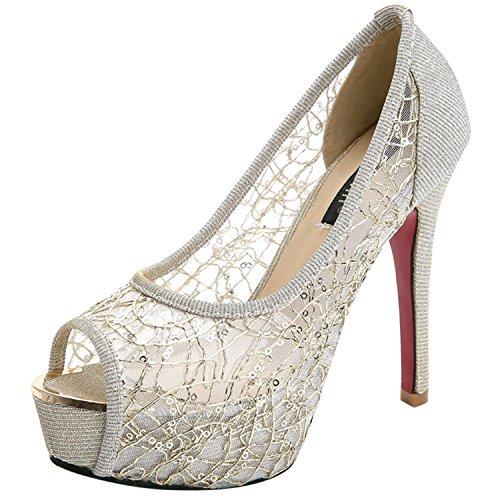 Oasap Women's Peep Toe Platform Mesh High Heels Pumps Golden