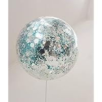 XXL Ballon türkisem Flitter und silbernen Punkten