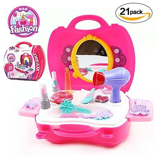 [21 Stück] prinzessin Make-up-Zubehör Schönheit Spielzeug,GYOYO Kosmetik-Set in einem Koffer Mädchen Kinder Rollenspiel Spielzeug,Koffer Mädchen Spielzeug Geburtstag Geschenk,Prinzessin Mädchen koff