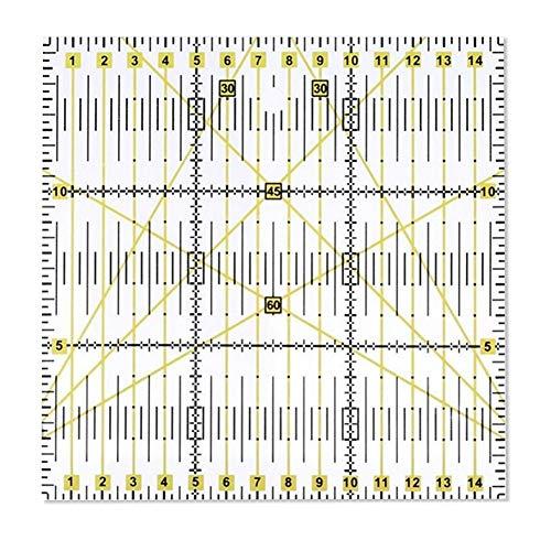 Righello universale in plastica per patchwork, sartoria, fai da te, qualting trasparente 15x15 cm