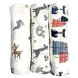 Levoberg Wickeltuch baby 3er set, weich und gemütlich, 120 x 120 cm groß, zwei Schichten Musselin-Baumwolle für Junge und Mädchen, Spucktücher, Baby Tuch, Mulltücher, Stoffwindeln, Molton-Tücher