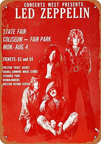 mengliangpu8190 Tin Sign 7 x 10 Metal Sign 1969 Led Zeppelin in Dallas Vintage Look Wall Sign Decorative Sign Retro Sign Aluminum Sign