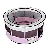 Songmics Oxford Welpenauslauf faltbar mit herausnehmbare Boden 115 x 115 x 58 cm pink PPP15F