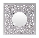 Meinposten. Wandornament Spiegel Holz weiß 50x50 cm Shabby Wandspiegel Ornament Holzornament