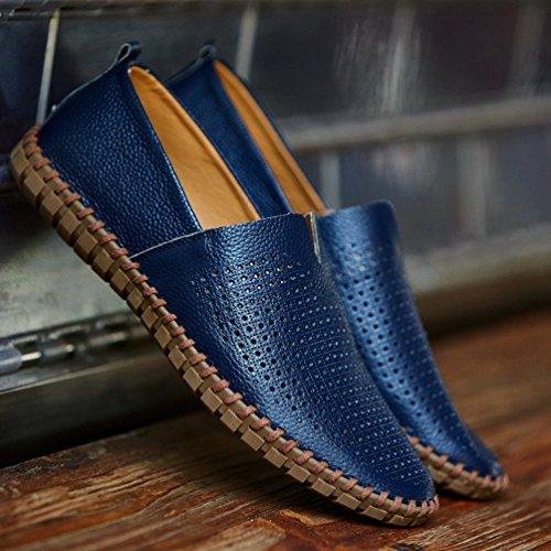 YiLianDa Herren Leder Slipper Leicht Flache Schuhe Anti-Rutsch Spaziergang Schuhe Blau(Stoma)