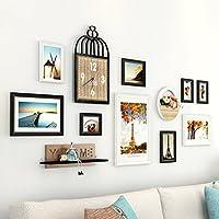 AXZPQ- Marco de fotos Colgante de pared Conjunto de marcos múltiples Dormitorio moderno y simple Dormitorio contiene reloj y estante