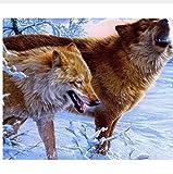 LIWEIXKY Rahmenlos Winterwölfe Malen Nach Anzahl Kit DIY Acrylbild Auf LeinwandFür Wohnkultur 40X50Cm
